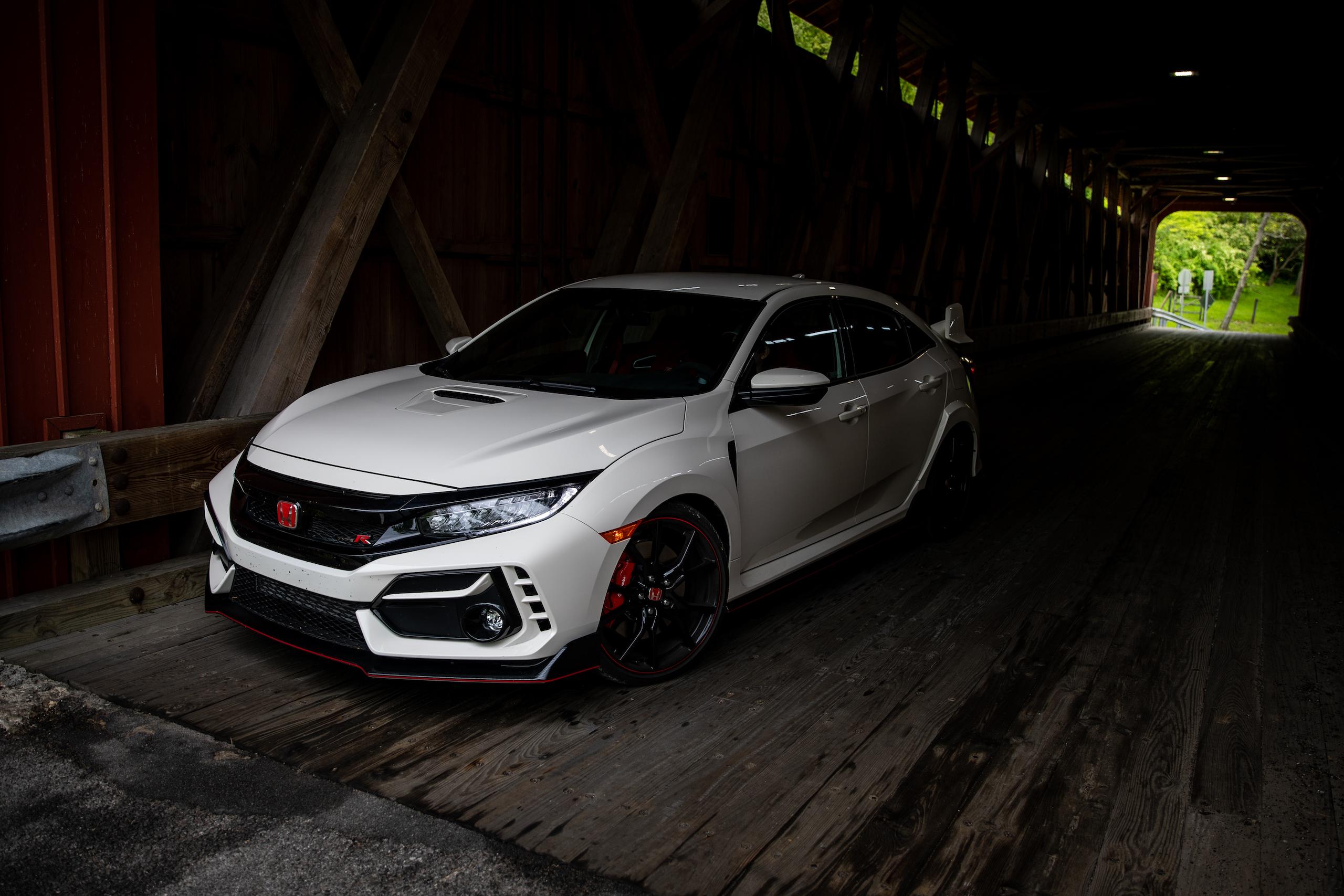 2020 Honda Civic Type R front three-quarter covered bridge interior