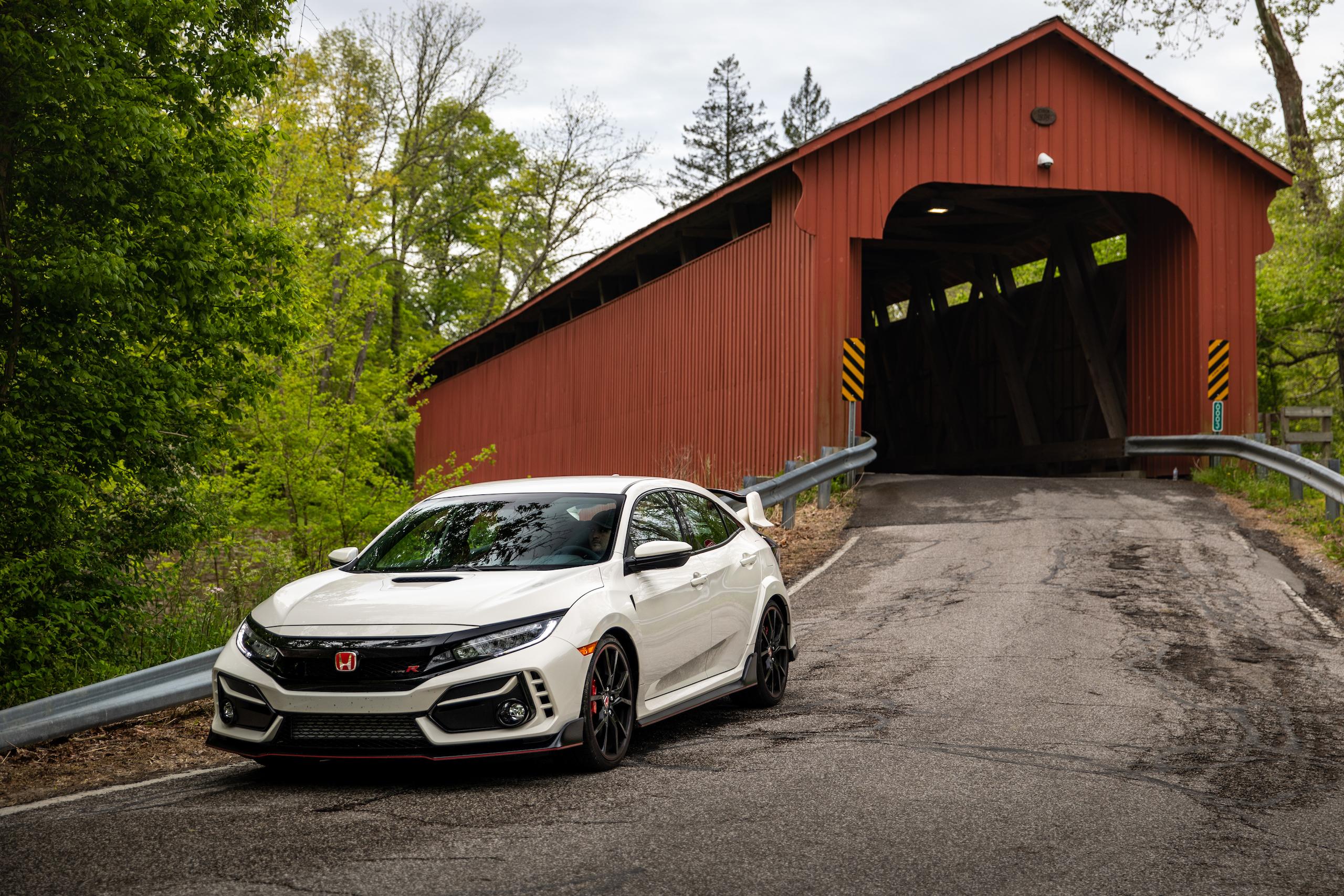 2020 Honda Civic Type R front three-quarter covered bridge
