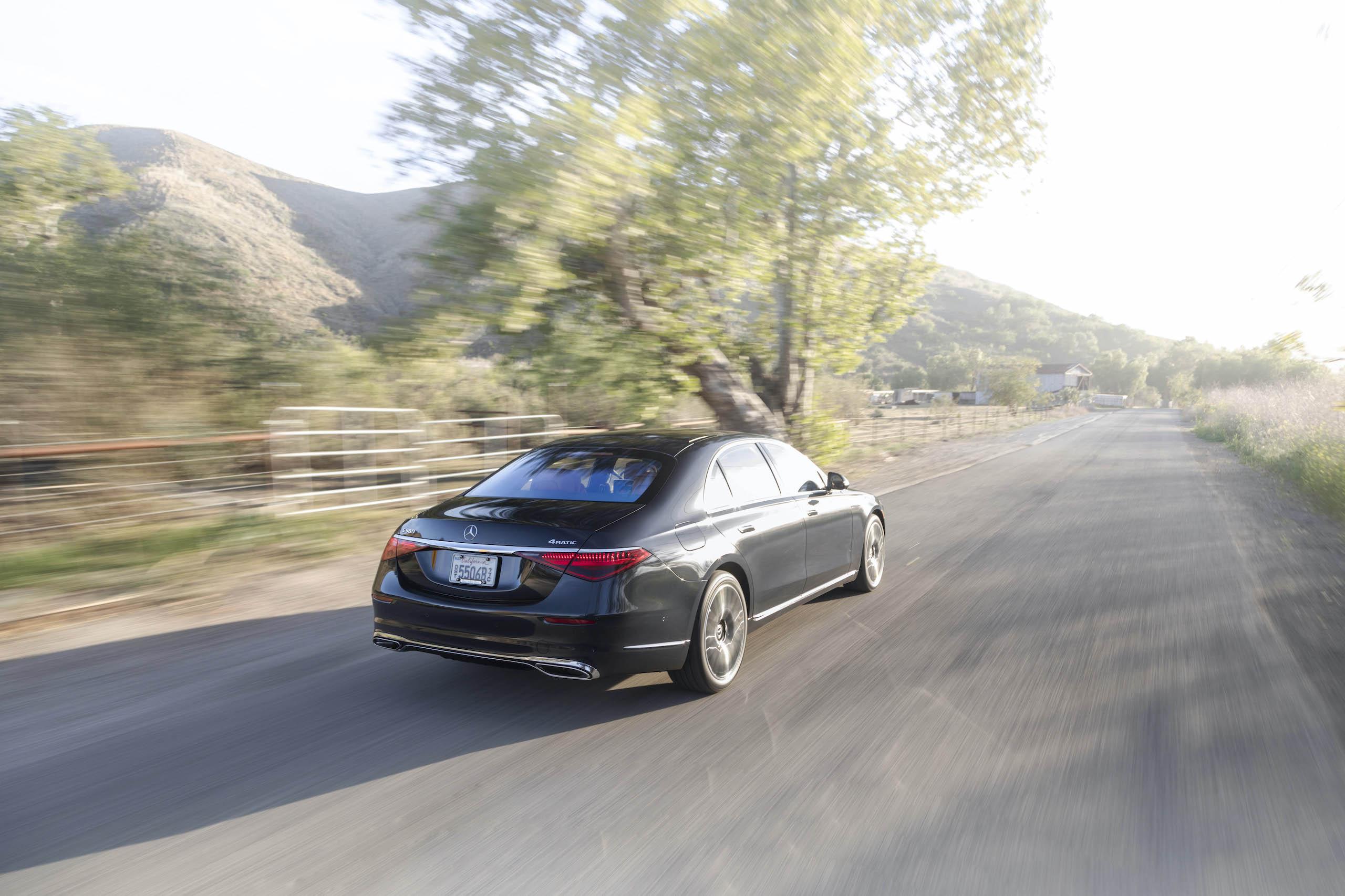 Mercedes Benz-S-Class rear three-quarter action