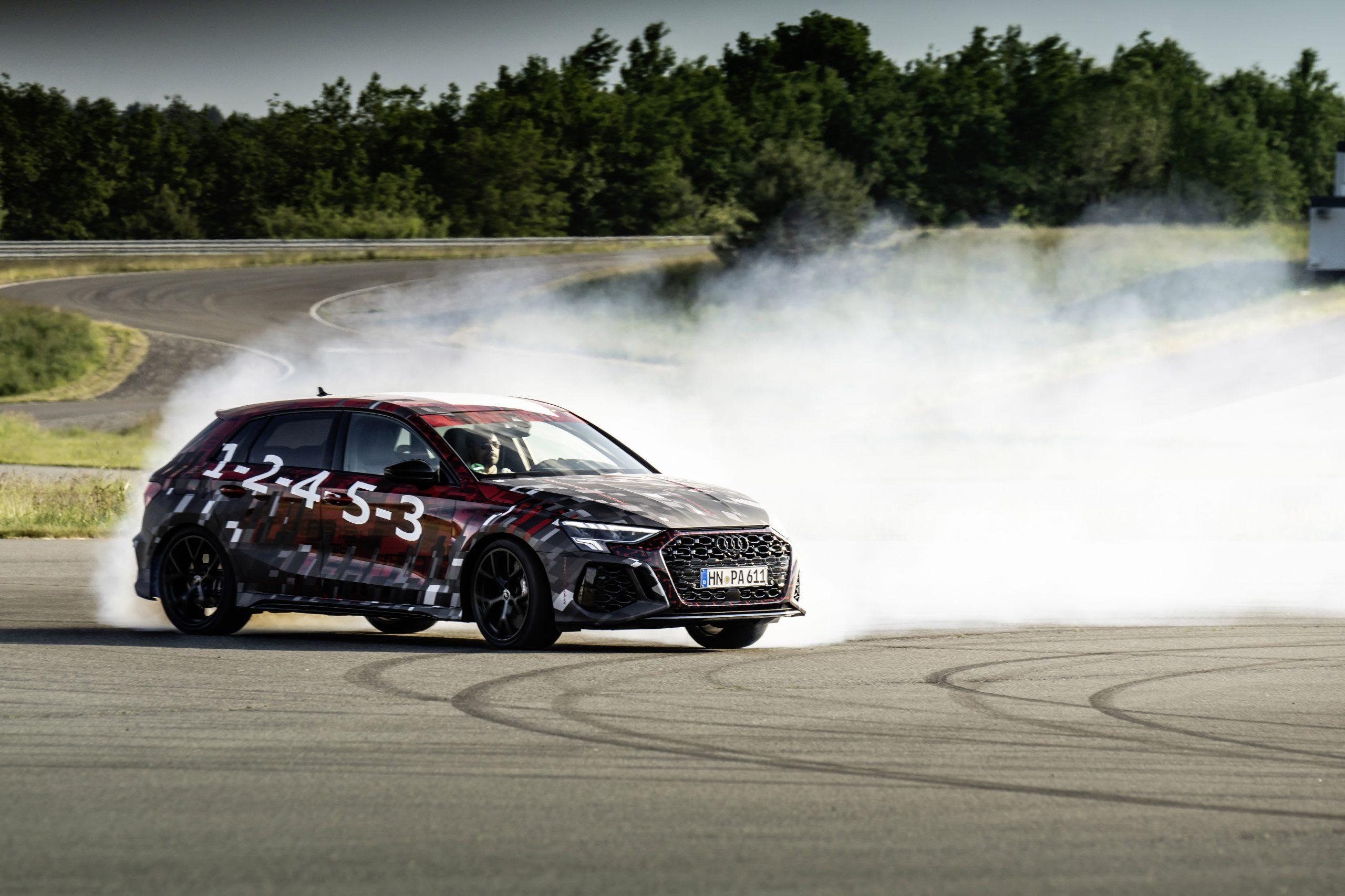 Audi RS3 Sneak Preview tire smoke track