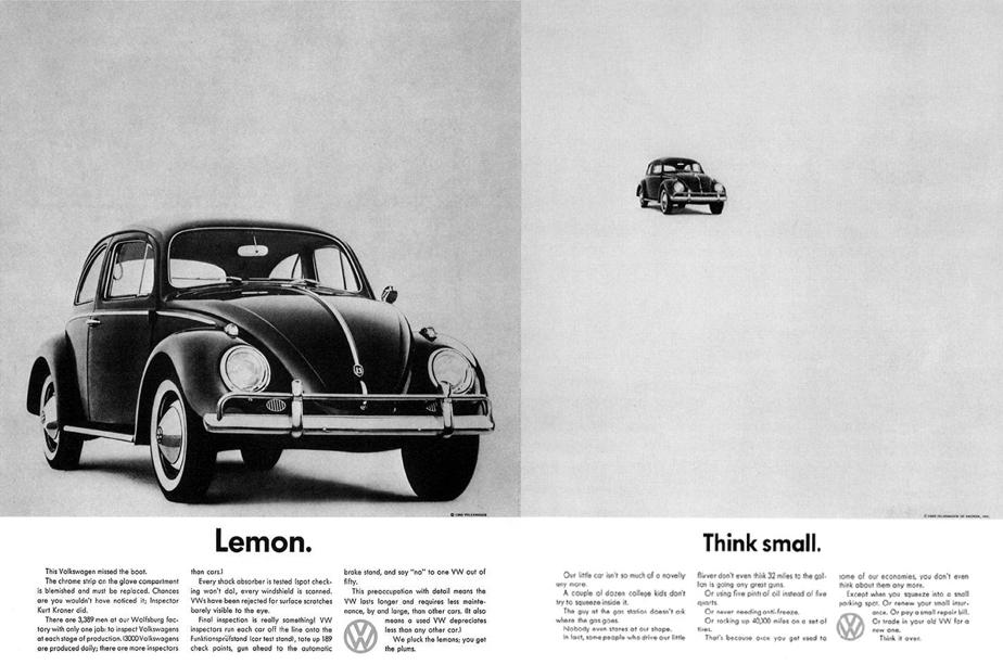 Volkswagen Beetle Lemon Think Small