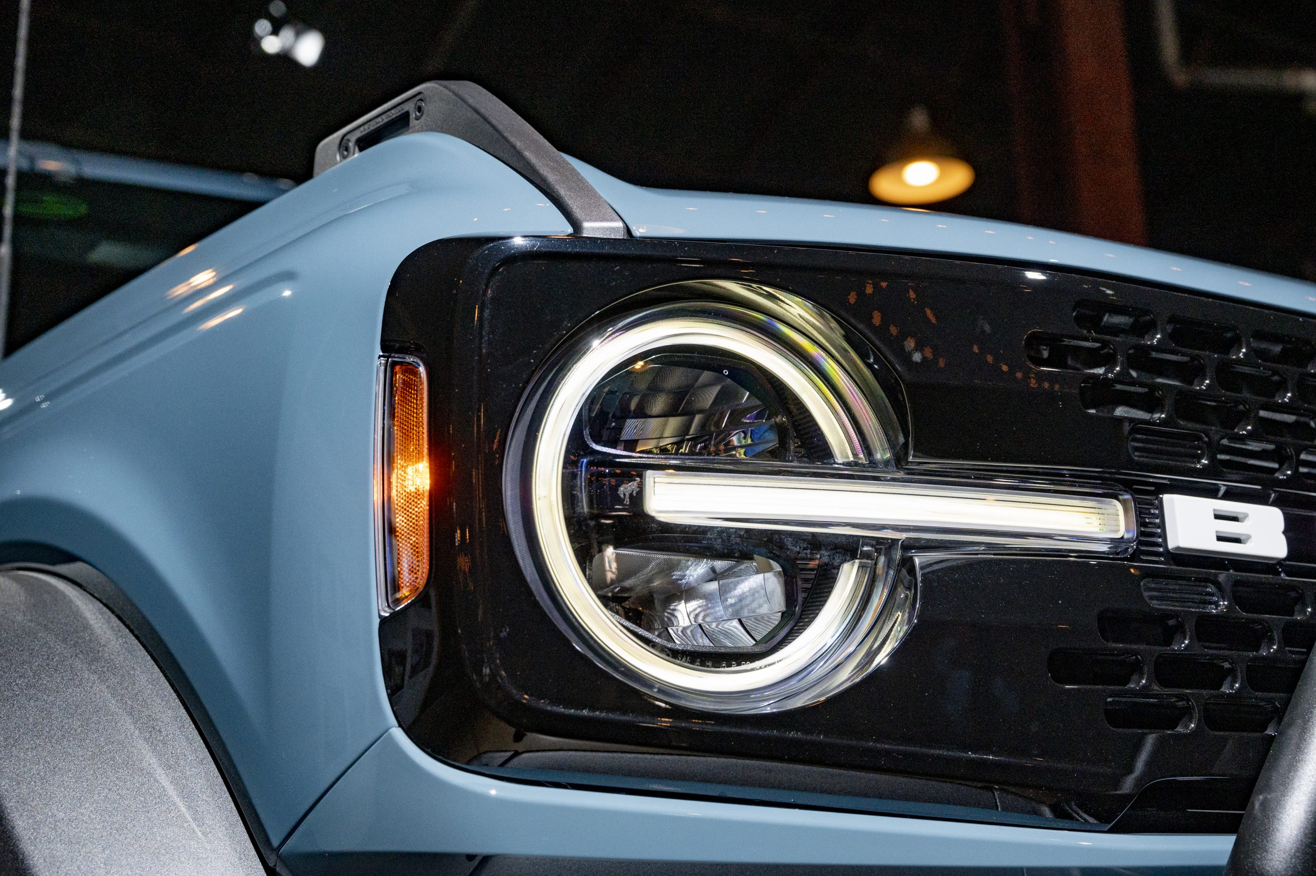 2021 Ford Bronco headlight closeup
