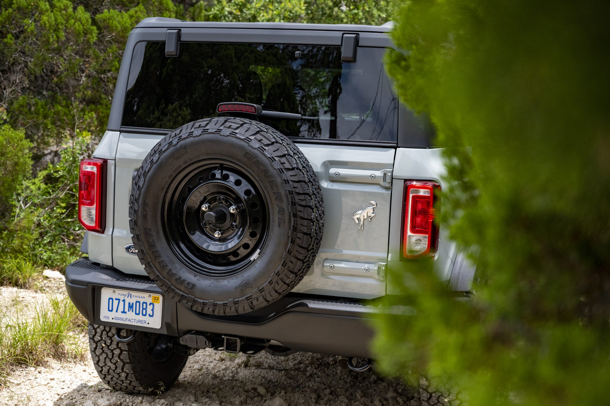 2021 Ford Bronco two door rear on trail
