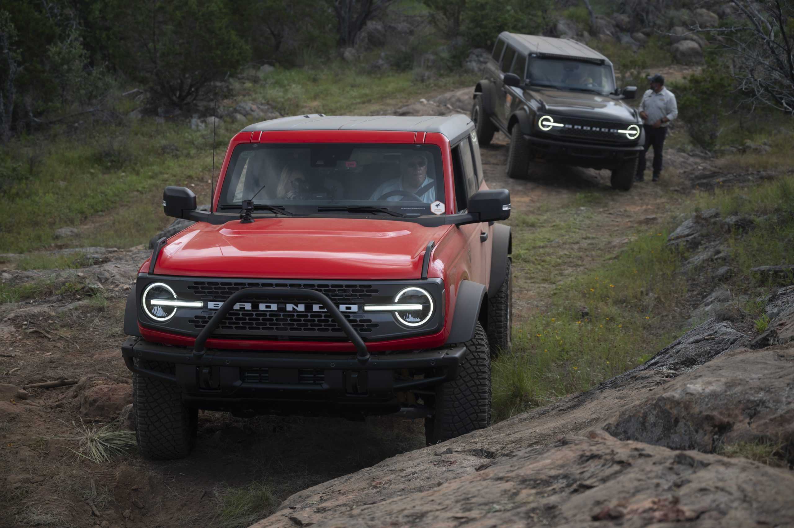2021 Ford Broncos on trail front