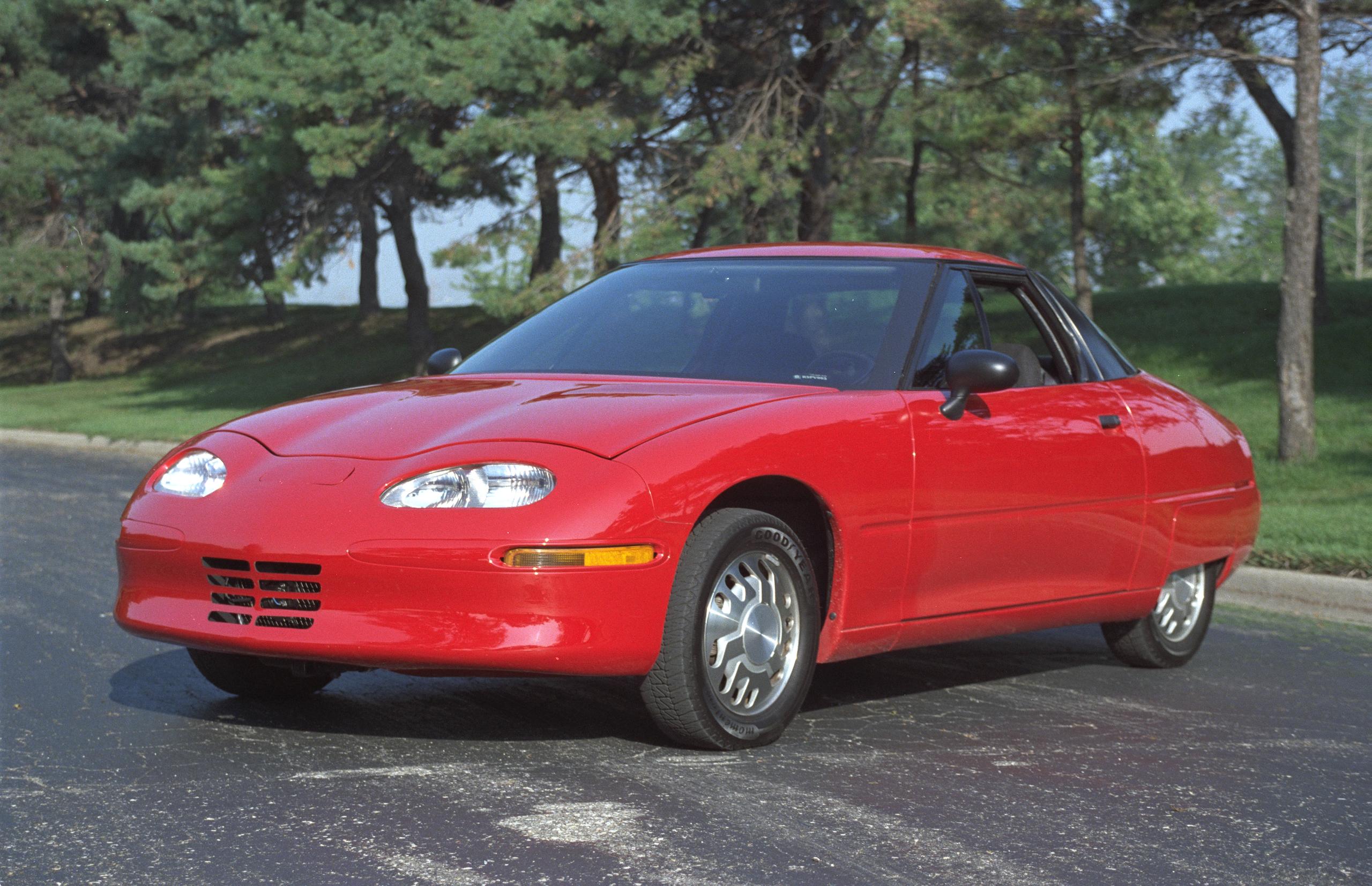 EV1 front three-quarter red