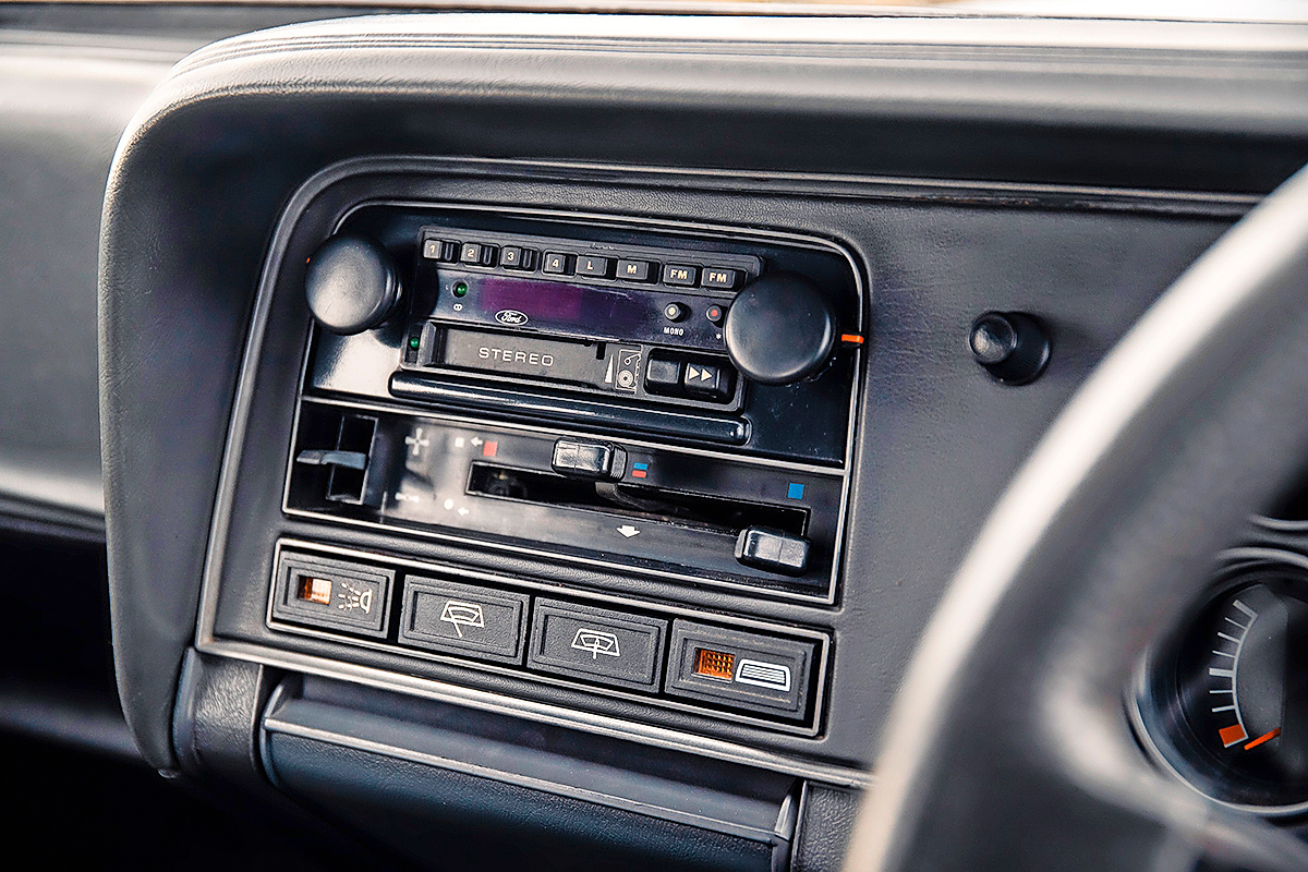 Henry Ford Capri interior dash stereo
