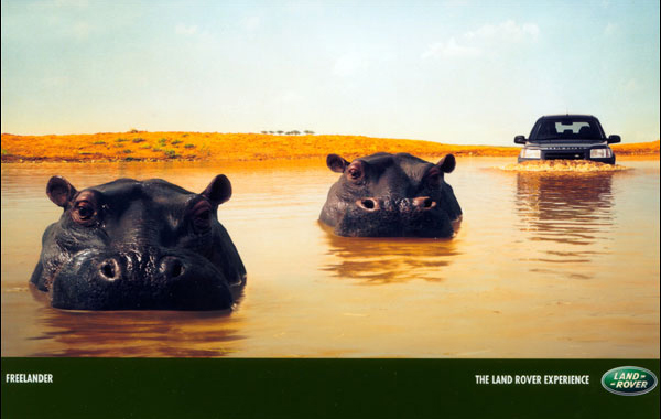Land Rover hippos vintage ad