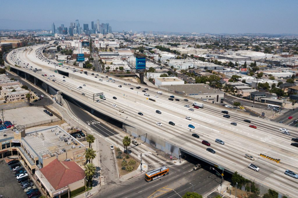 110 Freeway approaching the downtown Los Angeles