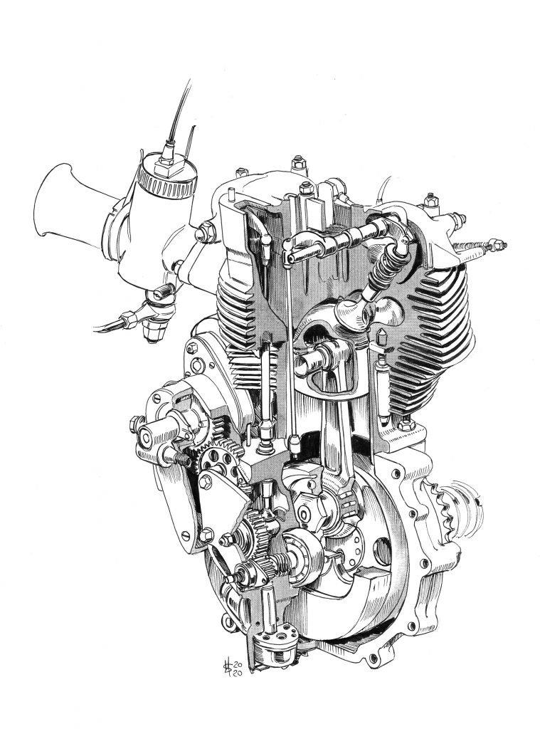 DBD34 cutaway engine internals