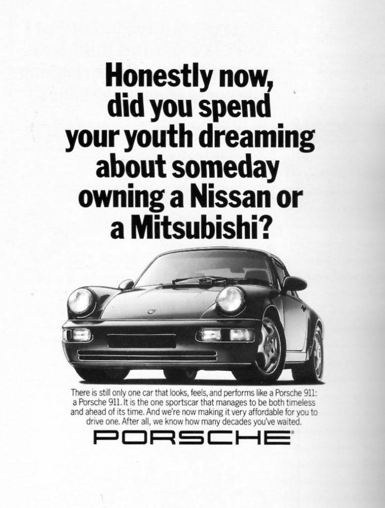 Porsche 911 Ad Bashing Nissan Mitsubishi