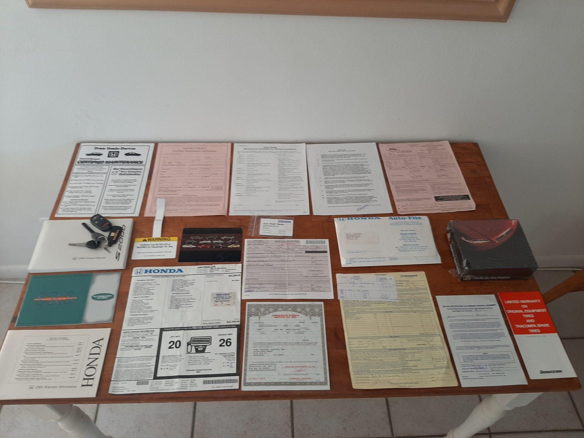 Honda S2000 paperwork