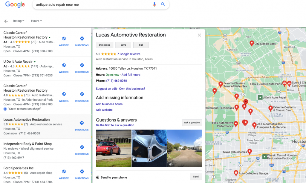 Google Near Me search
