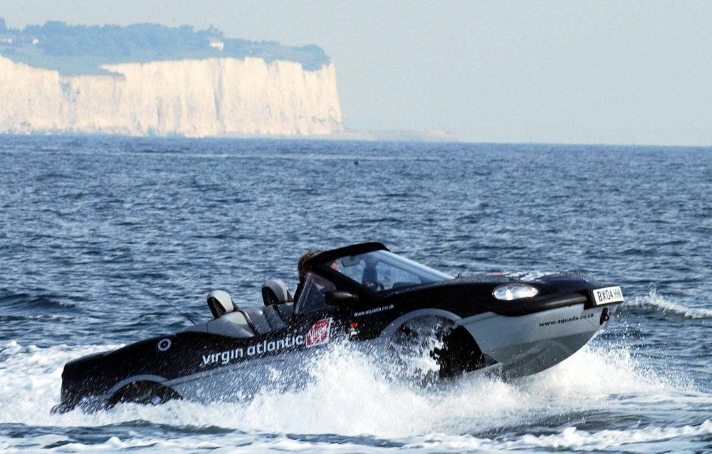 Richard Branson Aquada action white dover cliffs behind