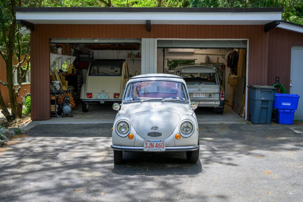 Subaru 360 and Citroen garage