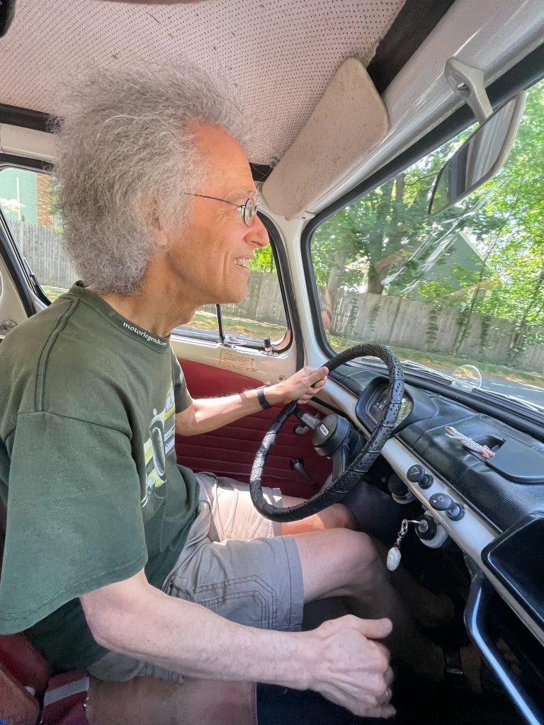 Subaru 360 interior driving action