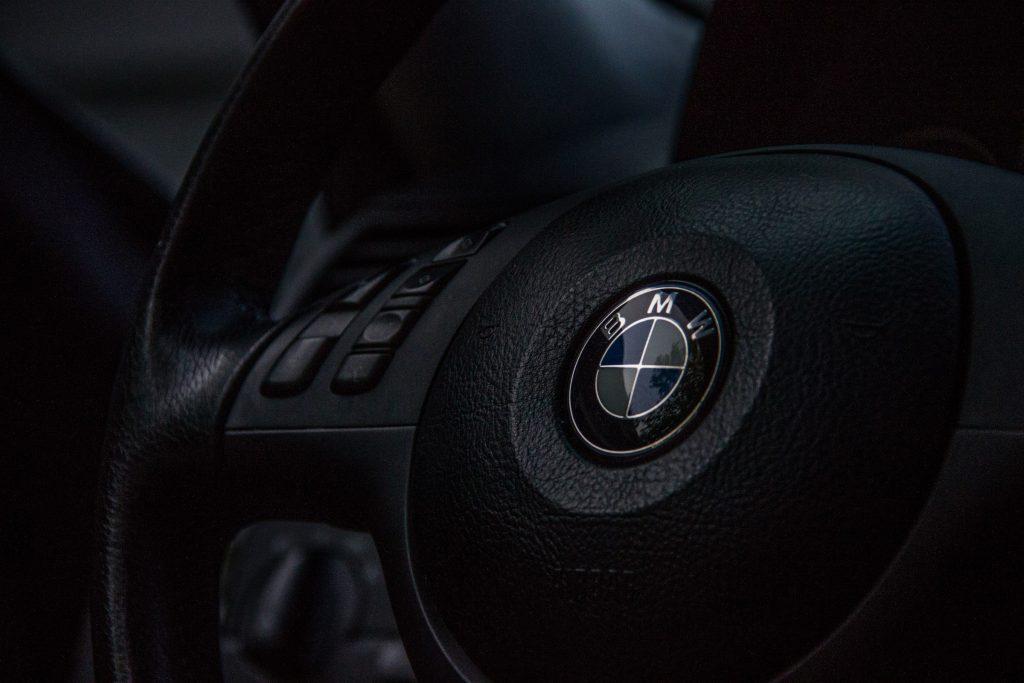 Old BMW Steering Wheel closeup