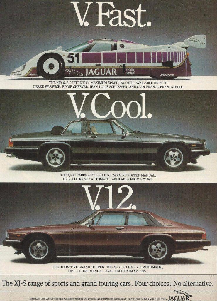 Jaguar v12 vintage ad
