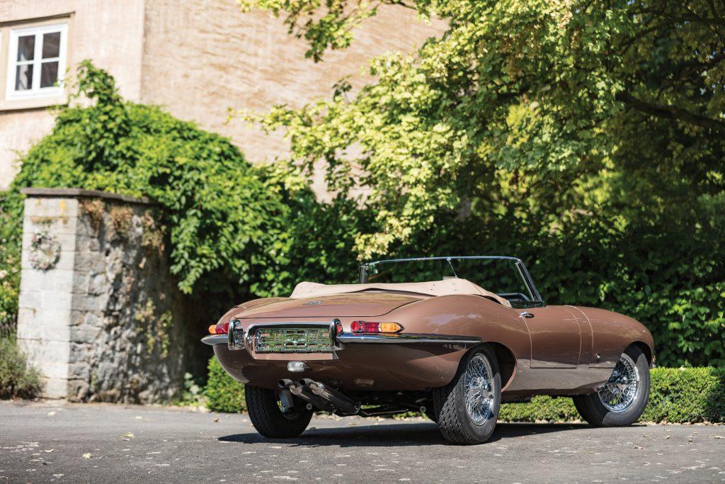 Jaguar E-Type Bronze rear three-quarter