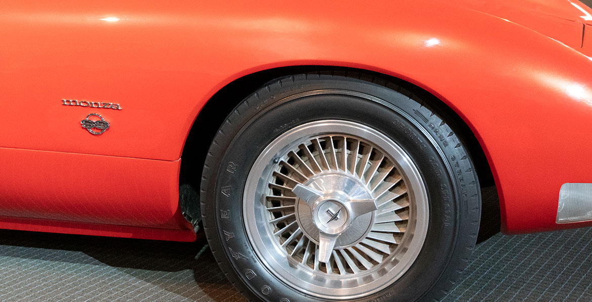 Chevrolet Corvair Monza SS badge and wheel