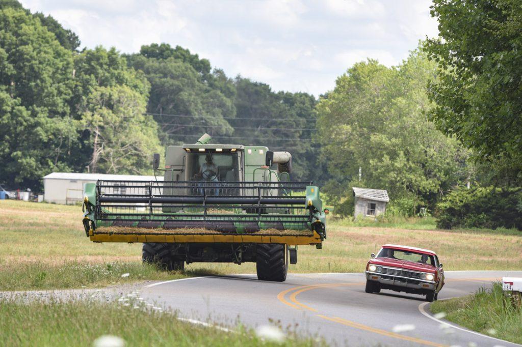 passing farm equipment