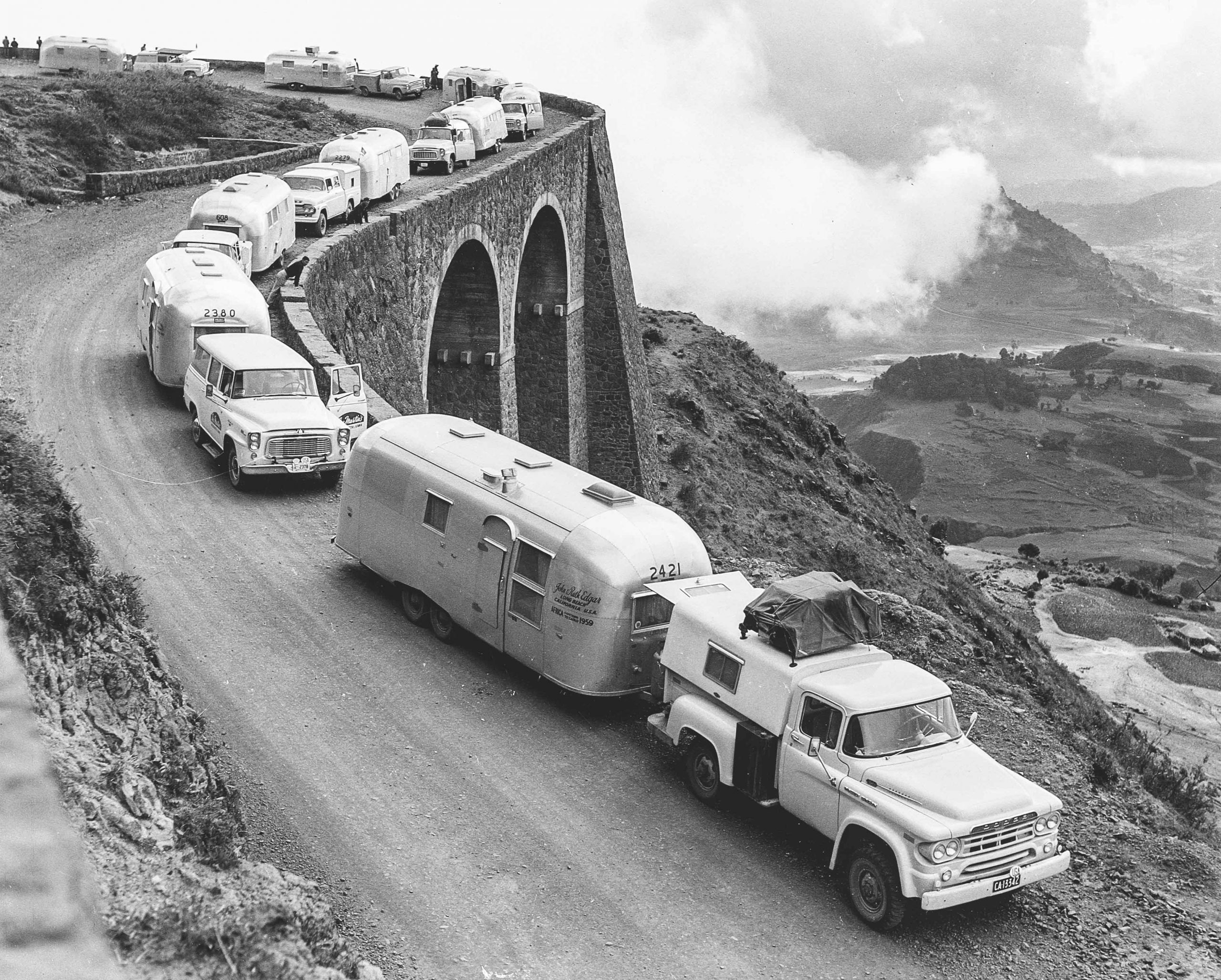 Airstream Caravan on Mountain Ledge
