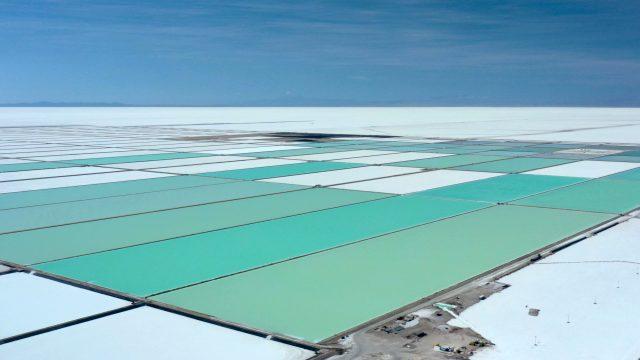Lithium Production Brine Ponds Aerial