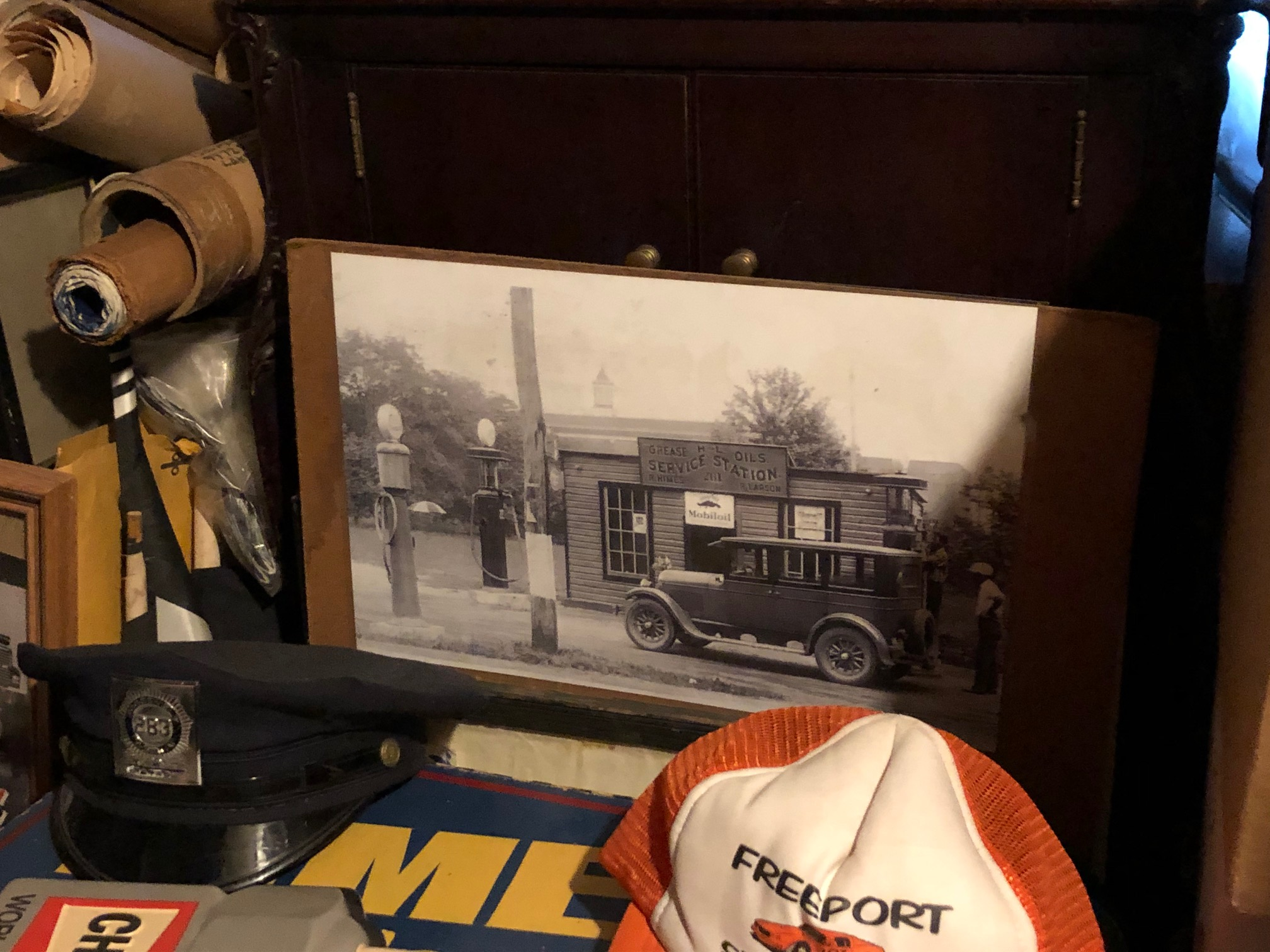 Himes Museum service station historical image