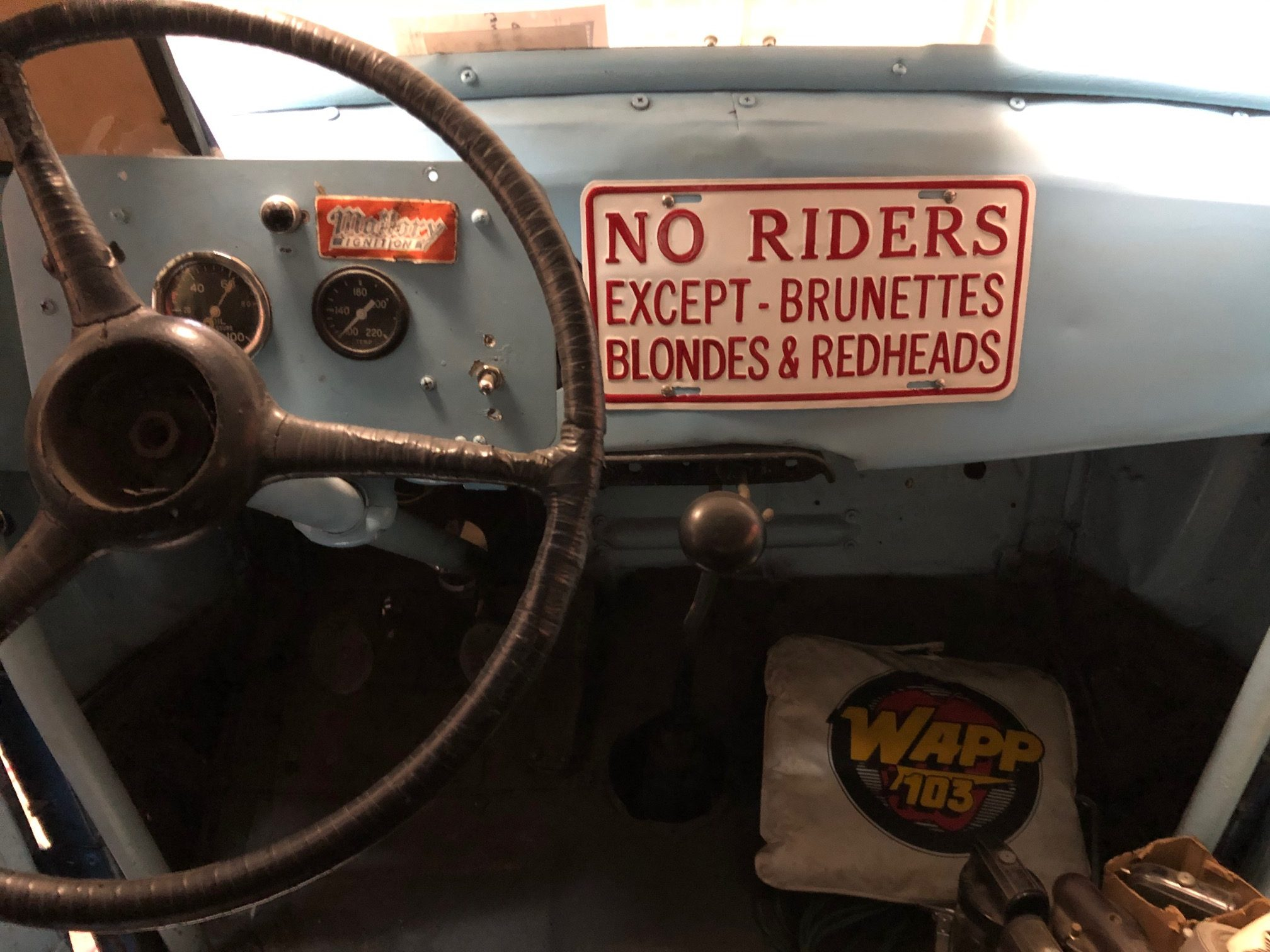 Himes Museum racer car interior riders funny sign