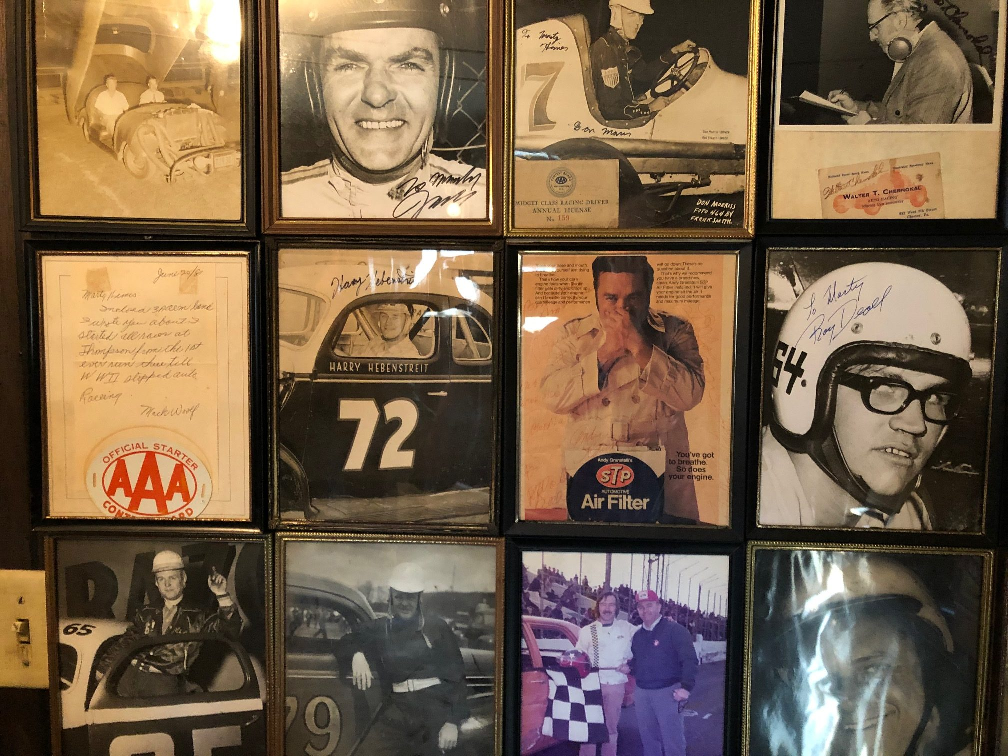 Himes Museum photo wall of racers