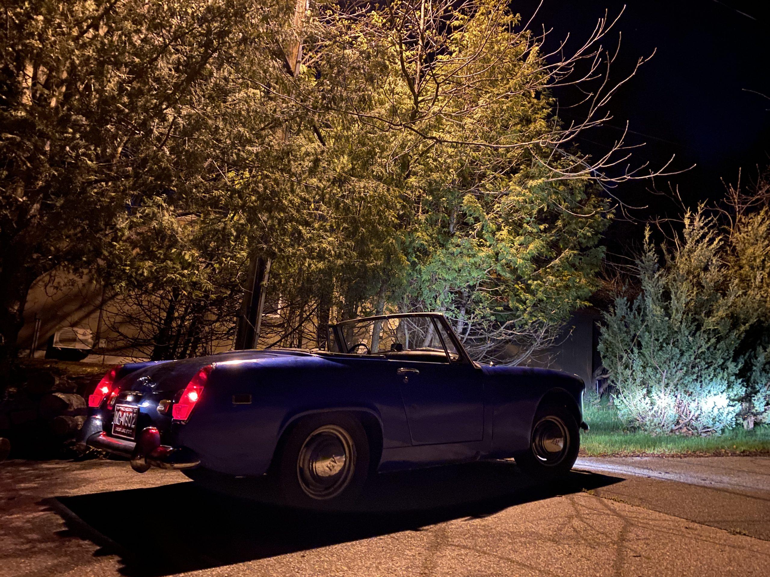 Austin Healey Sprite at night