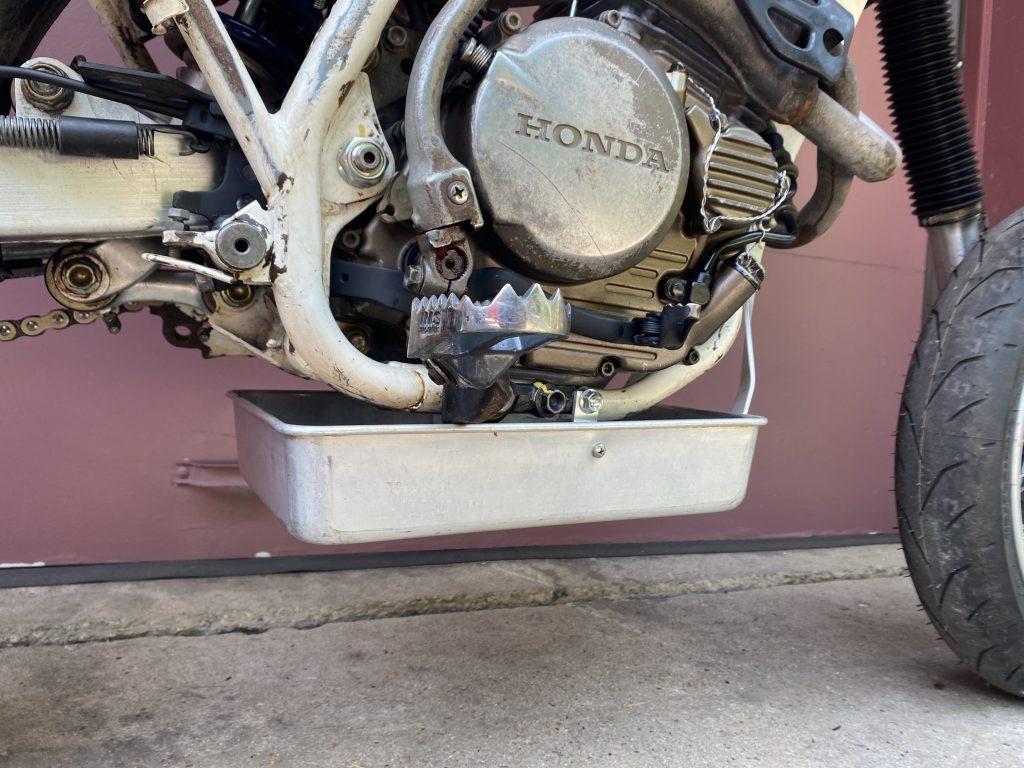aluminum baking pan under Honda XR250R