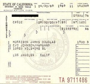 Jim Morrison - 1967 Shelby Registration - 4-30-69