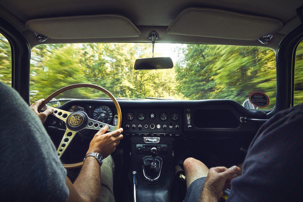 Jaguar E-Type interior action