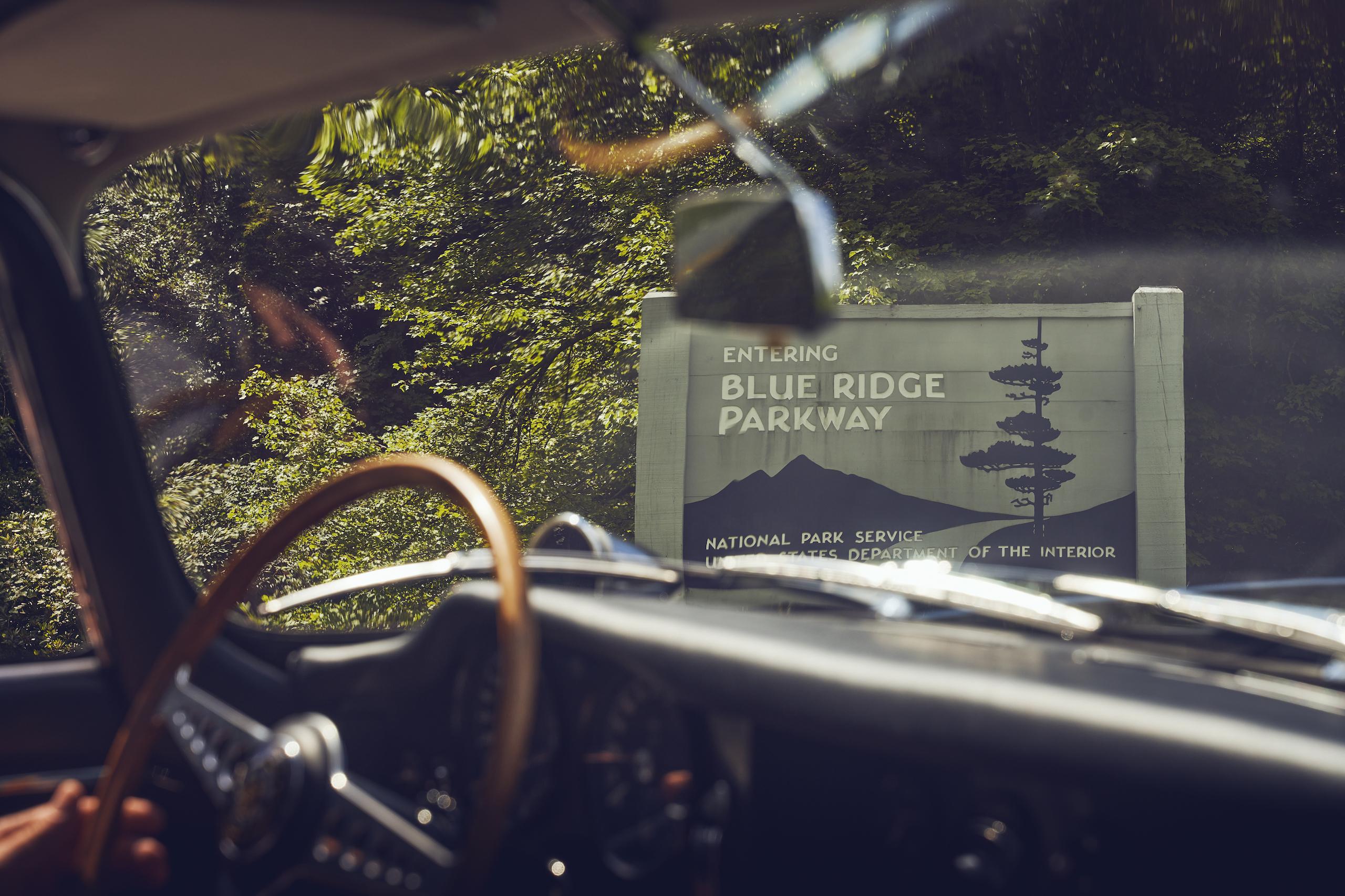 Jaguar E-Type blue ridge parkway entrance