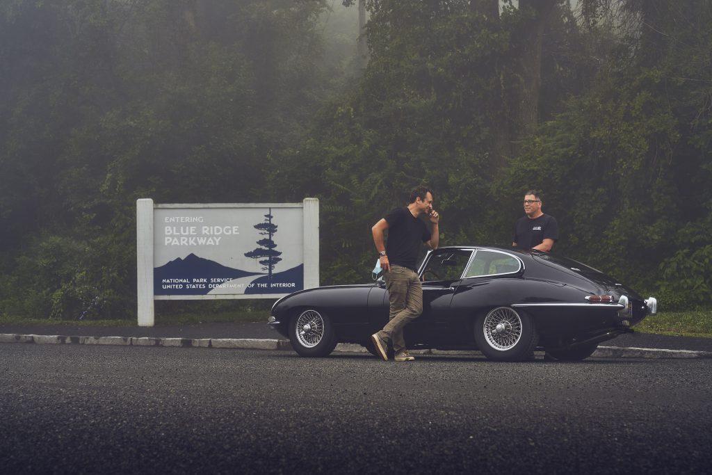 Jaguar E-Type blue ridge parkway road trip