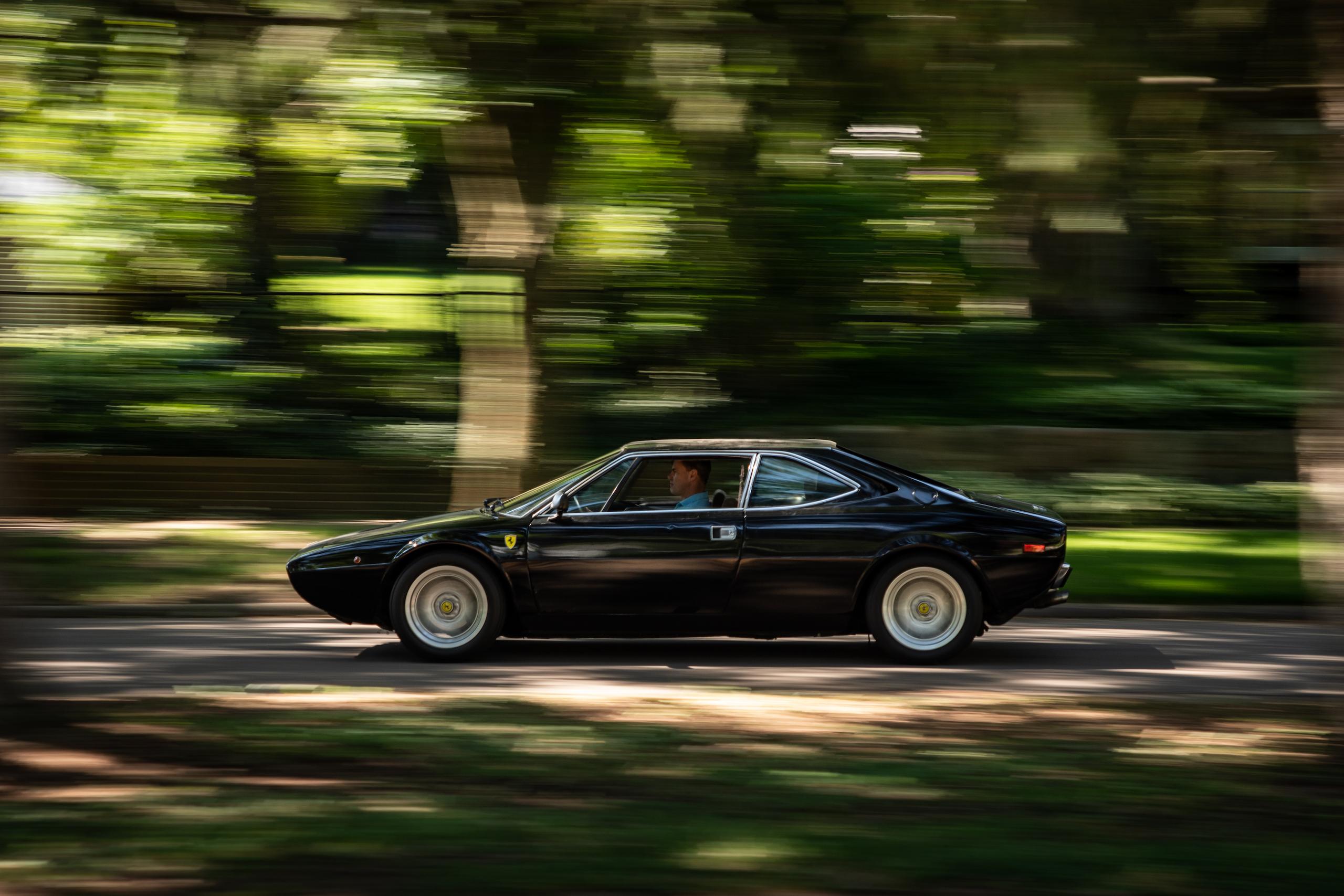 Ferrari Dino restoration side profile driving action