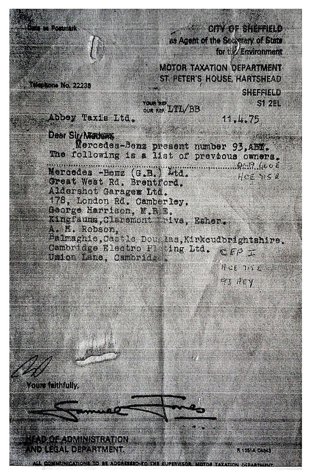 George Harrison Mercedes-Benz 600 documentation