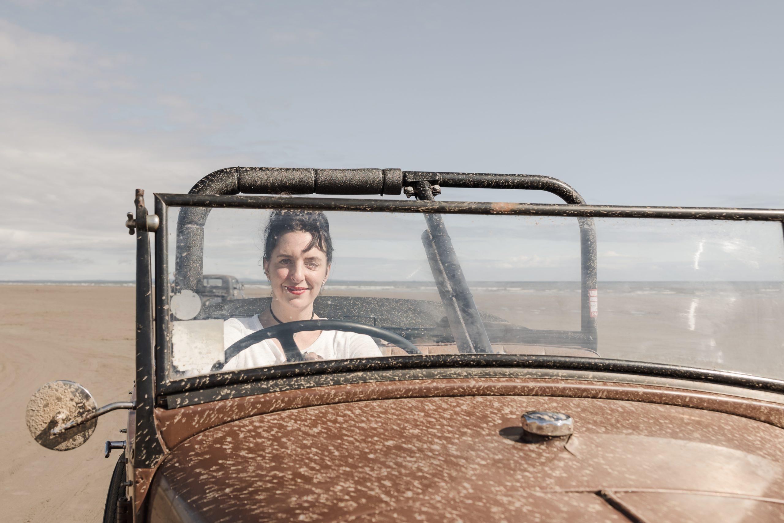 Pendine Sands hot rod racer portrait through windscreen