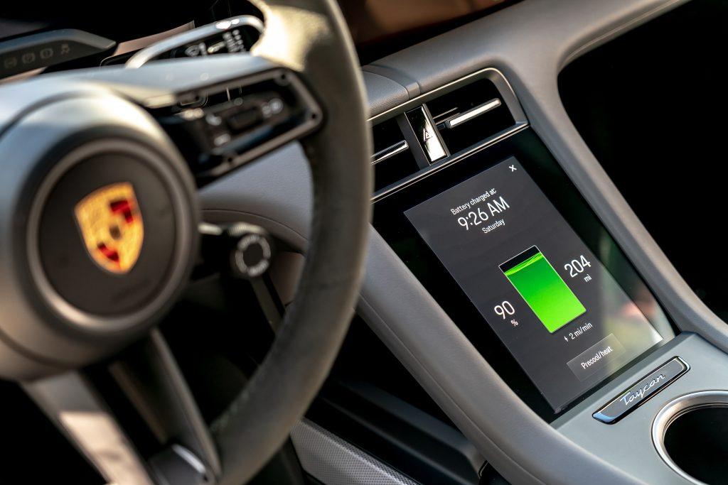 Porsche Taycan interior Battery Tech Info Screen