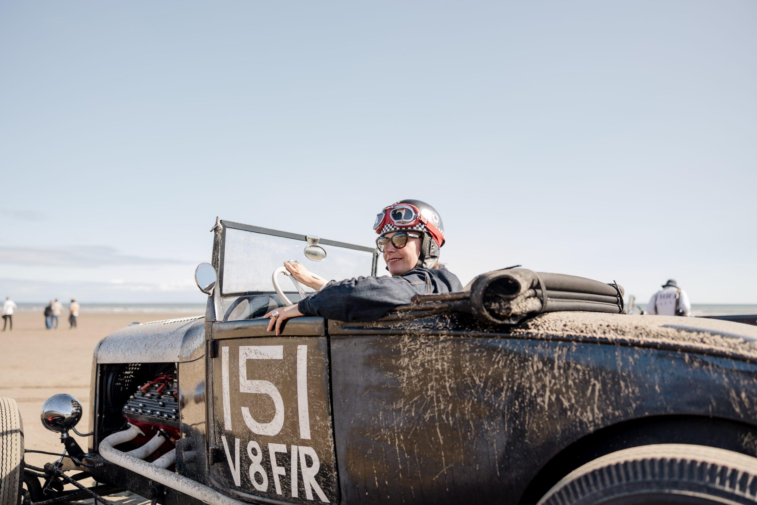 Pendine Sands hot rod racer helmet goggles