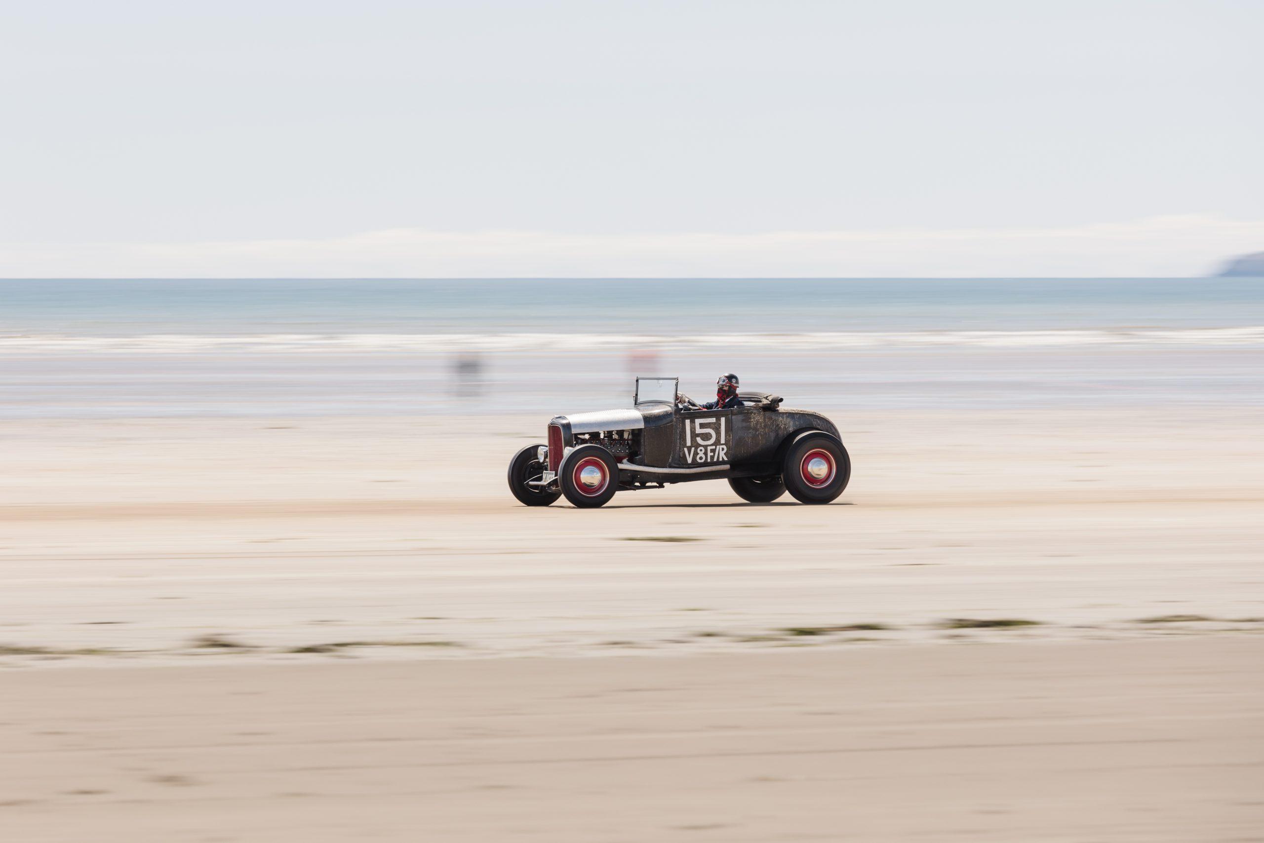Pendine Sands hot rod racer beach action
