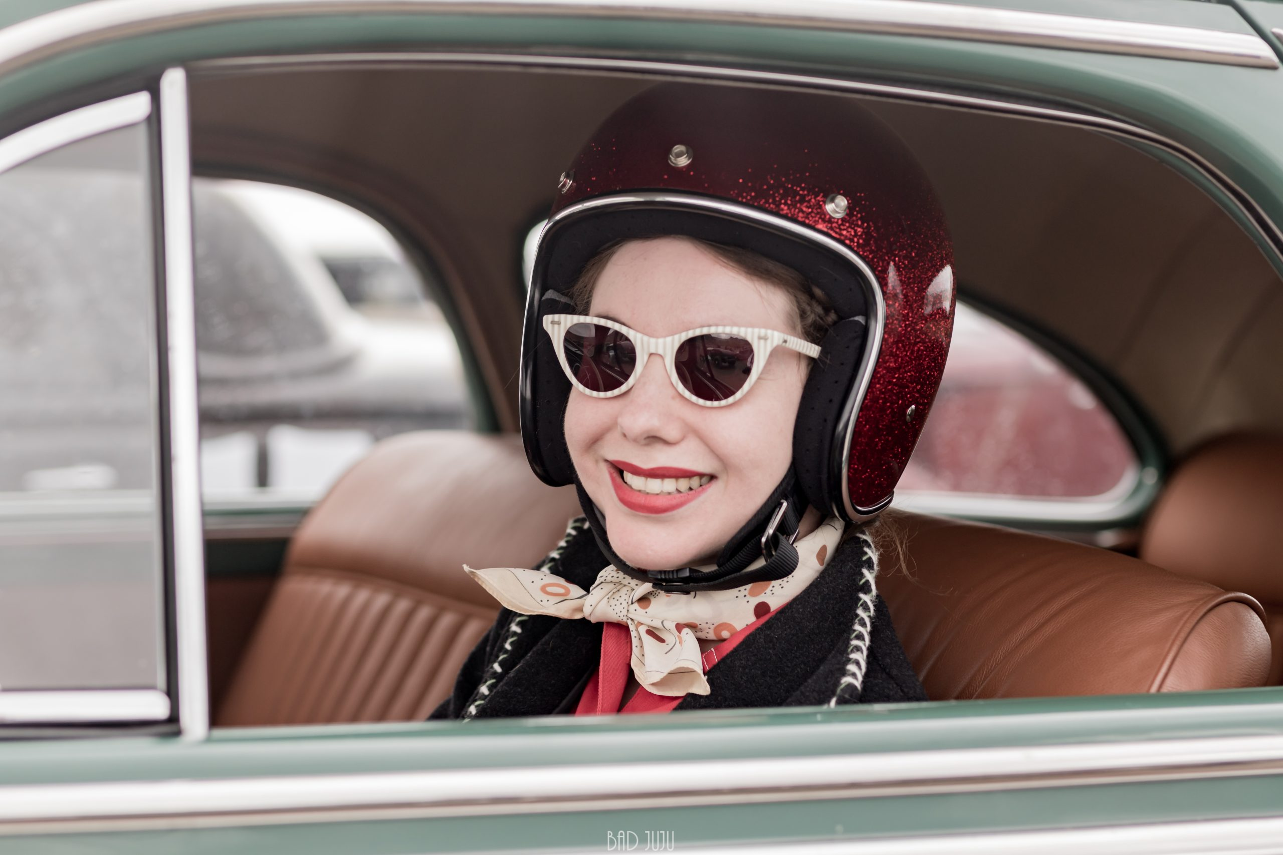 Pendine Sands driver behind wheel portrait