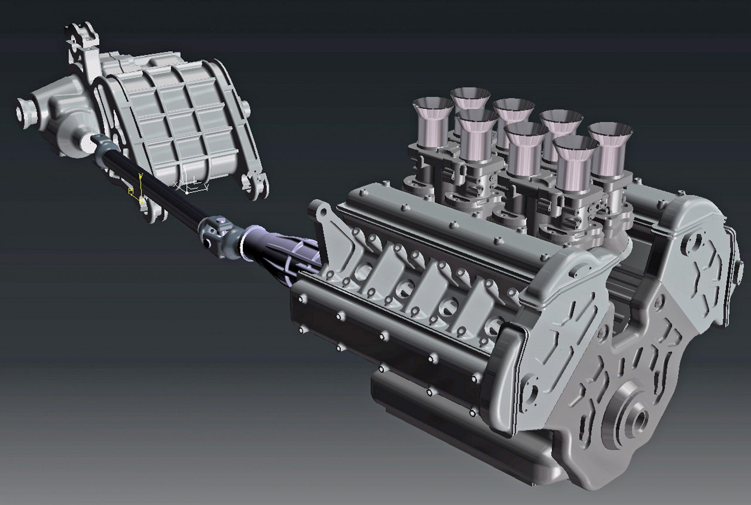 ferrari scale model engine rendering