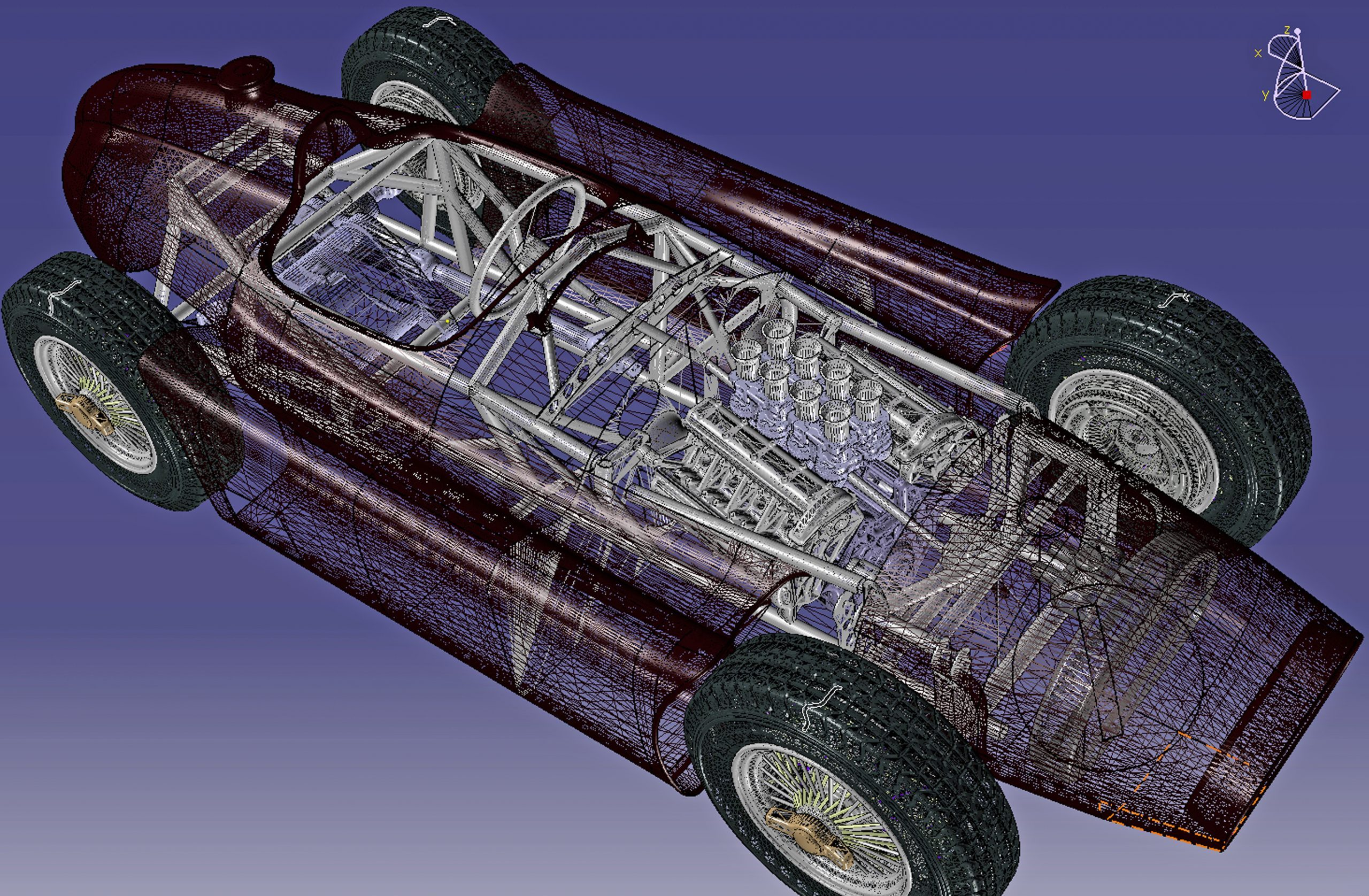 ferrari scale model chassis rendering