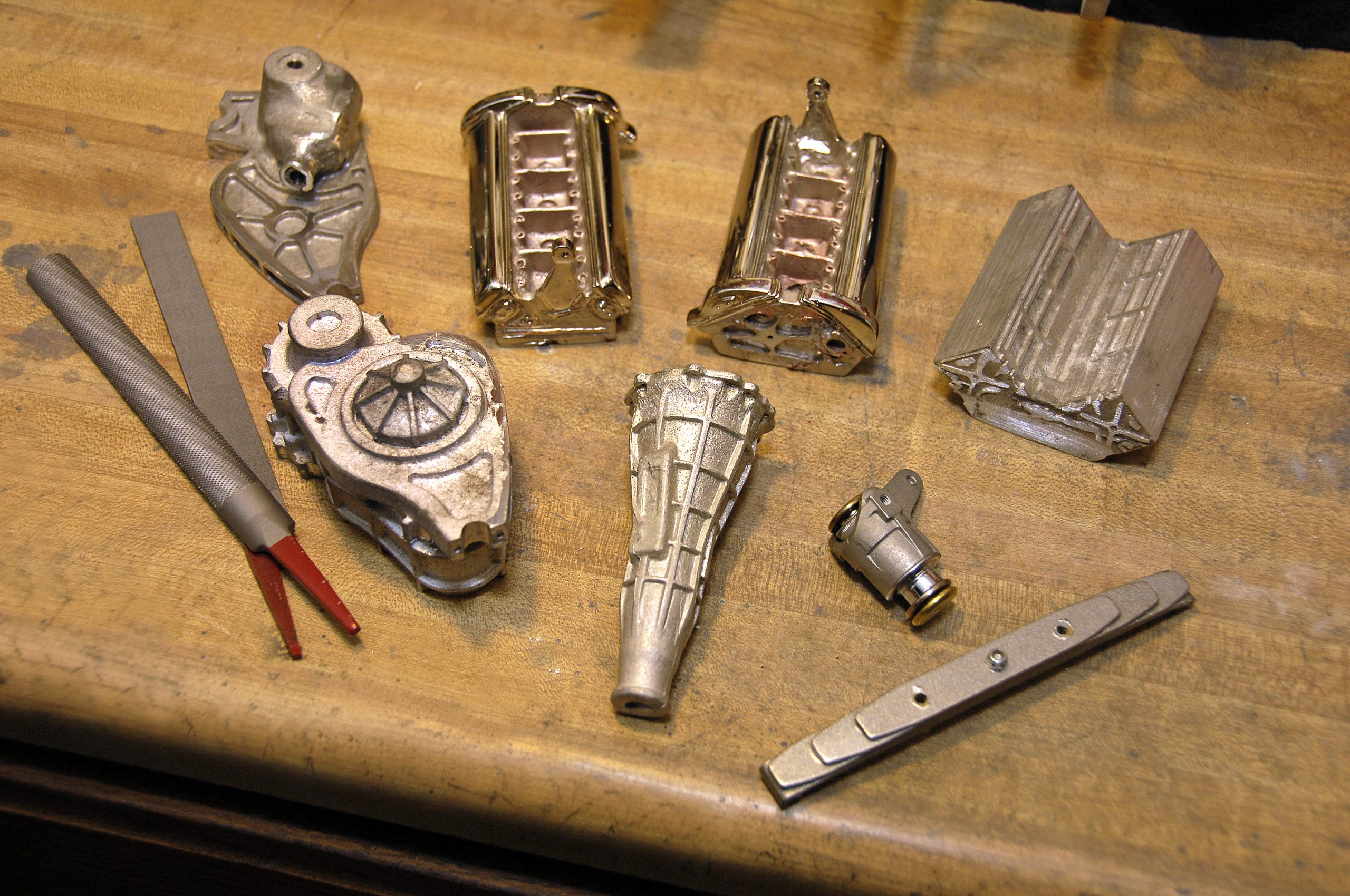 ferrari scale model parts on table detail