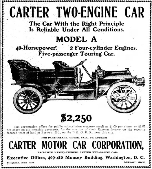 1907 Carter two-engine car - Ad in The Washington Post - 5-22-1907