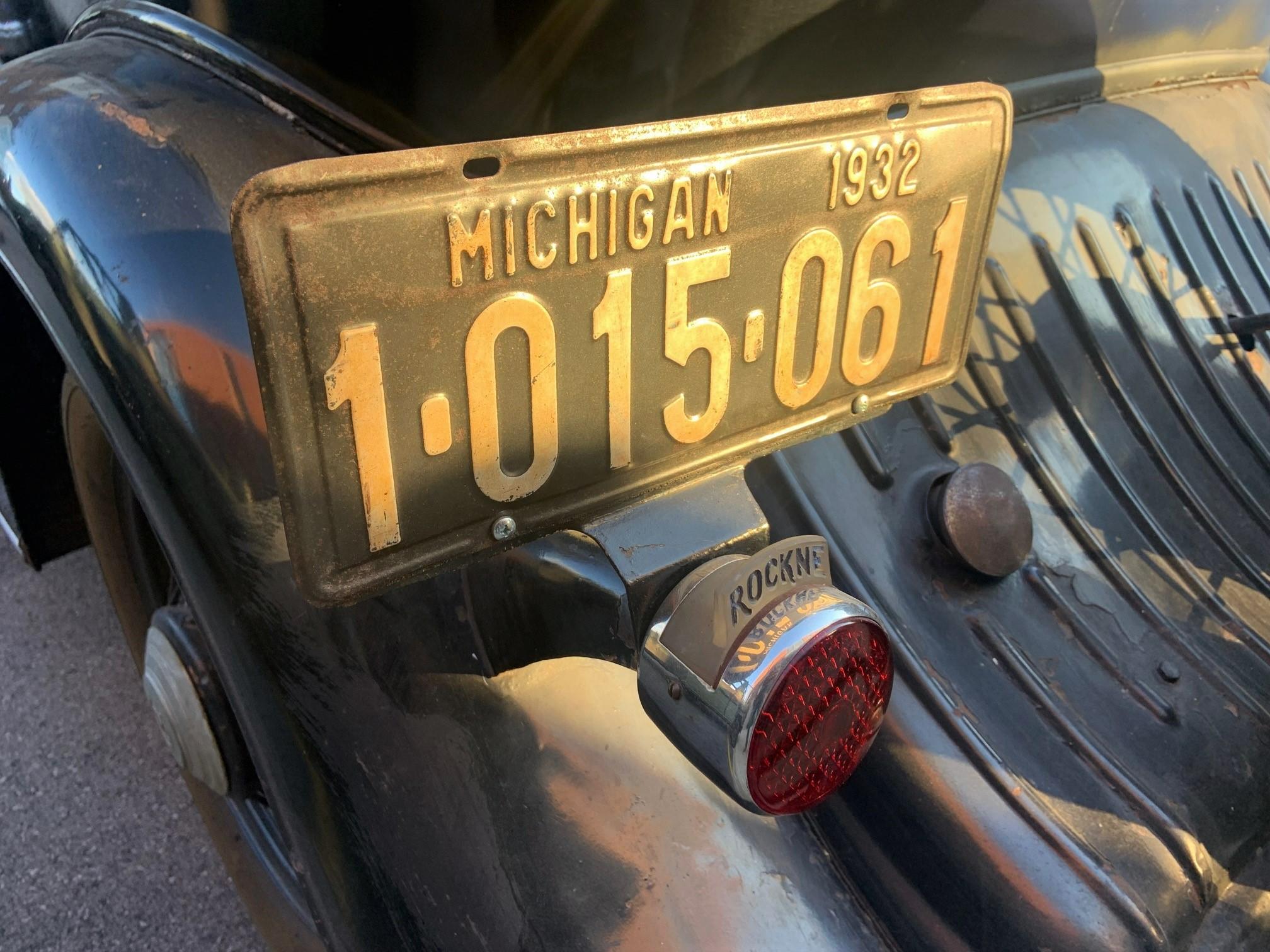 1932 Rockne - rear license plate
