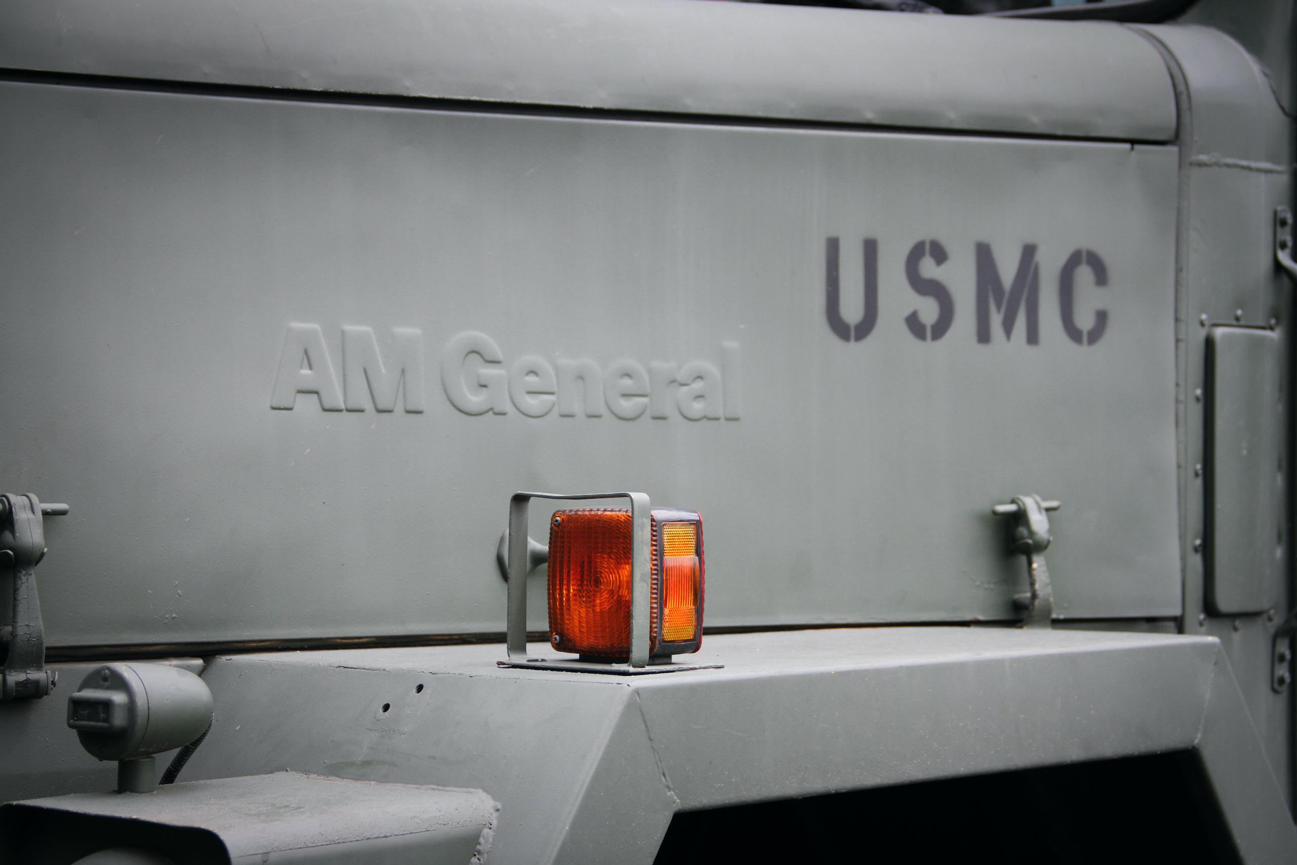 Military vehicle convoy am general usmc