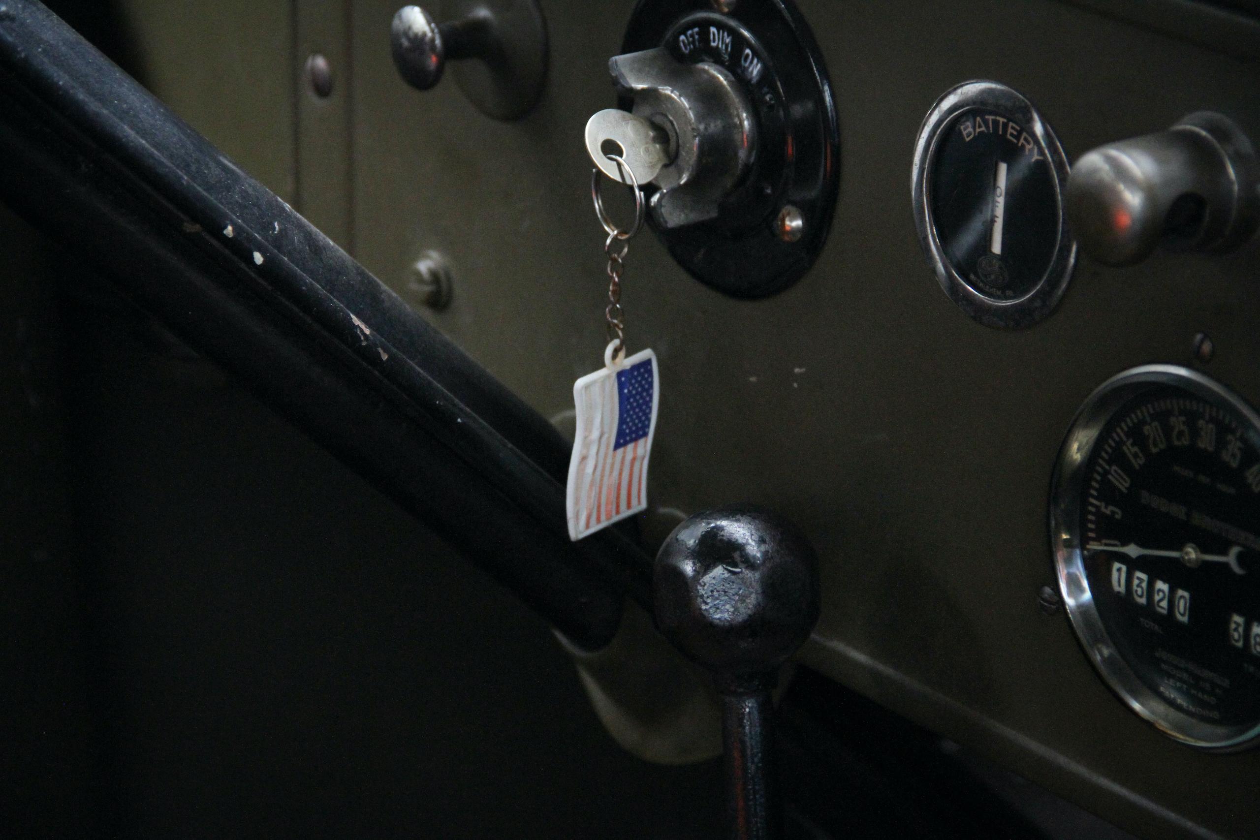 Military vehicle convoy interior flag keychain