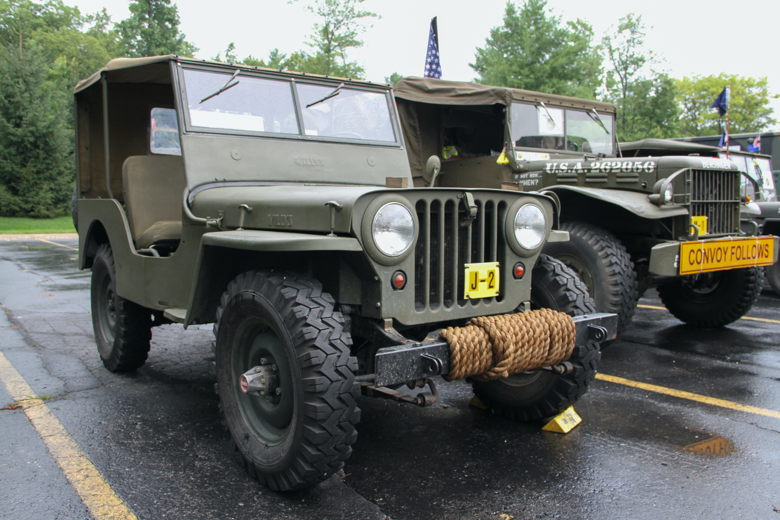 Military vehicle convoy jeep front three-quarter